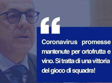 De Castro - Dorfmann: Coronavirus, mantenute promesse per ortofrutta e vino