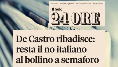 De Castro ribadisce: resta il no italiano al bollino a semaforo