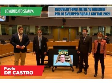 Recovery Fund: De Castro oltre 10 miliardi per lo sviluppo rurale già dal 2021