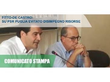 Fitto-De Castro: Su PSR Puglia evitato disimpegno risorse