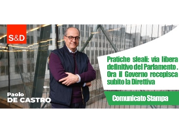 Pratiche sleali, De Castro: Il Governo recepisca subito la Direttiva UE